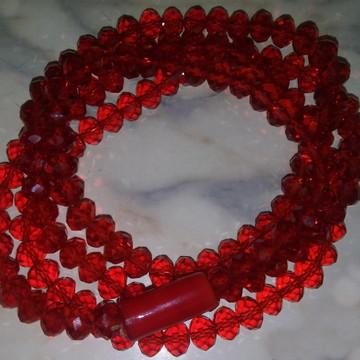 Guia de Cristal vermelho transparente