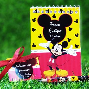 Bloquinho com mini Lápis Personalizado Mickey