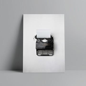 Pôster Escandinavo Foto Maquina de Escrever
