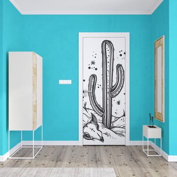 Adesivo de Porta Cacto Artes Desenhos Decoraçao