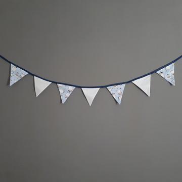 Bandeirinhas de tecido Ovelhinhas e poá branco azul