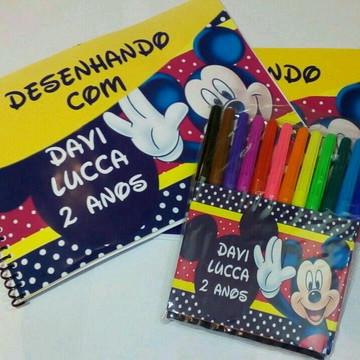 Caderno de Desenho + Canetinhas Personalizado Micky