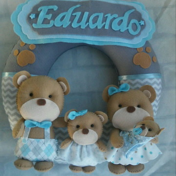 Enfeite Porta Maternidade familia Ursos