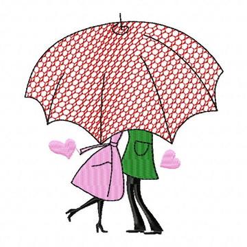 Matriz Casal Namorados no guarda chuva Agulha Feliz Matrizes