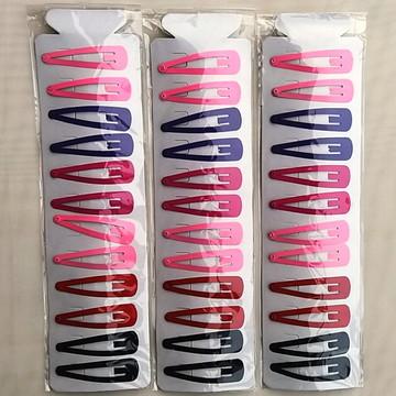 Presilha de cabelo Tic Tac 5,5 cm Colorida com 36 Peças