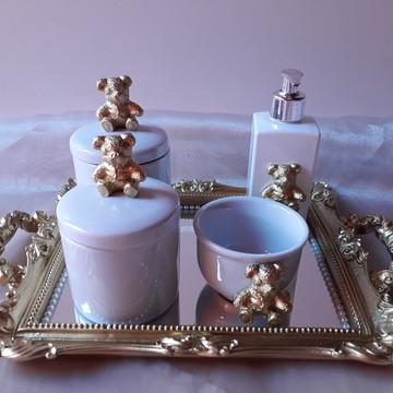 Kit Higiene com Potes Porcelana Ursinho