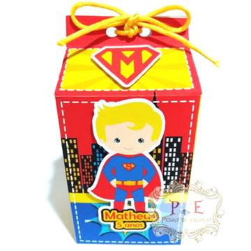 Lembrancinhas super homem caixa milk