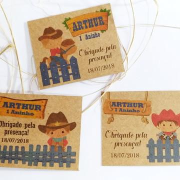 Tag/Convite Individual Rústico Kraft Tema Infantil 4x5cm