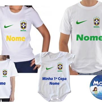 018ab0301 Camiseta Tal Pai Tal Mãe Tal Filho(a) Brasil Copa 2018 4und
