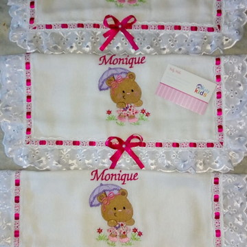 Kit de fralda de Boca barrado tecido ou Bordado Inglês