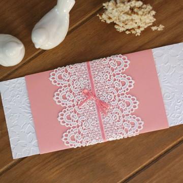 Convite Casamento Rendado Rosa Eleganteeeee
