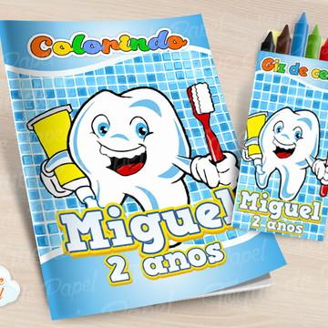 Kit colorir com giz de cera Dente