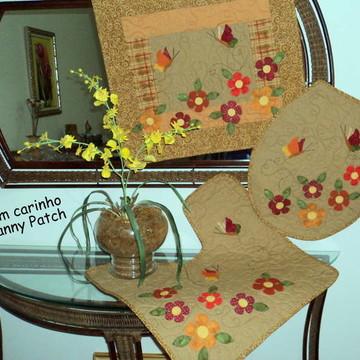 Conjunto Lavabo Flores e Borboletas