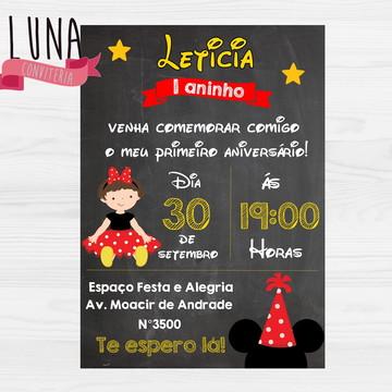 Convite Impresso - Minnie