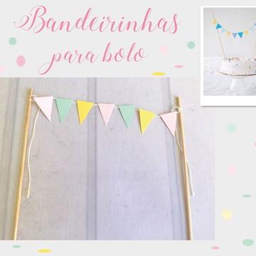 Mini Bandeirinhas para bolo Festa COOL