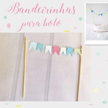 Mini Bandeirinhas para bolo Festa CHIC
