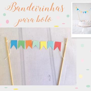 Mini Bandeirinhas para bolo Festa COLOR