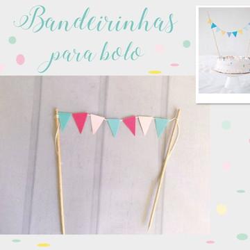 Mini Bandeirinhas para bolo Festa TIFFANY