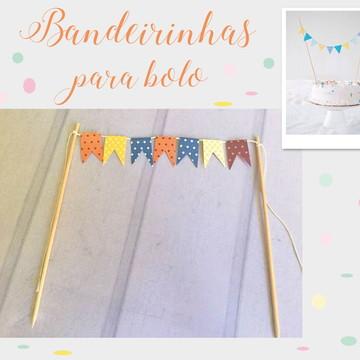 Mini Bandeirinhas para bolo Festa VINTAGE
