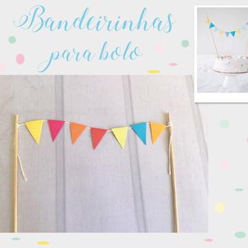 Mini Bandeirinhas para bolo Festa SUNSHINE