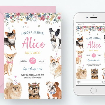 Convite Digital Aniversário Cachorros
