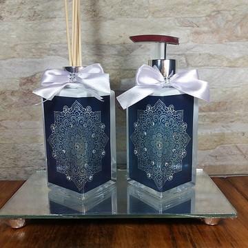 Kit Conjunto Lavabo Luxo com Bandeja Espelhada