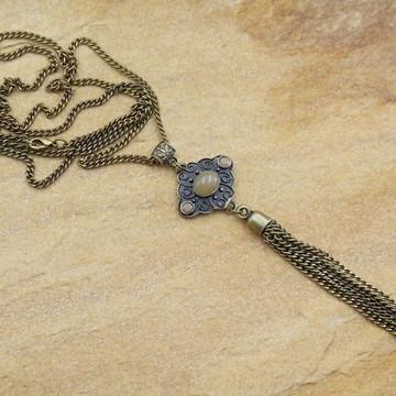 Colar longo de franjas ouro velho moda feminina bijuterias
