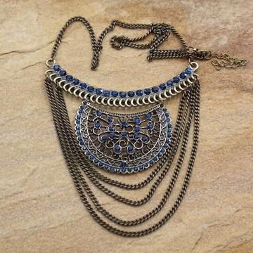 Maxi colar de correntes ouro velho strass moda feminina