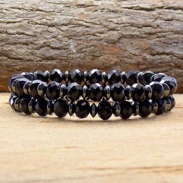Conjunto de pulseiras de cristal preto pulseirismo moda