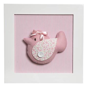 Quadrinho Quadro Pássaro Rosa Menina Quarto Bebê Infantil R$