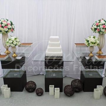 Aluguel Decoração Casamento Mesa Bolo Vidro Aquário Marrom