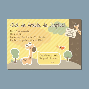 Convite de Chá de Fralda Personalizado - Arte Digital
