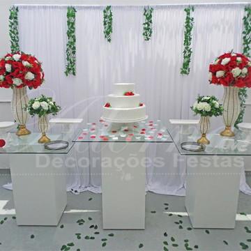 Aluguel Decoração Casamento Mesa Bolo Vidro Vermelho Branco