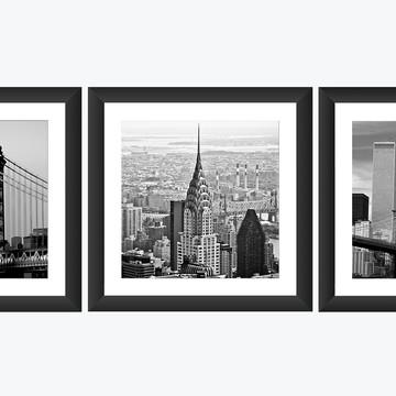 3 Quadro Nova York Ponte Manhattan Torre Chrysler Cidade Art