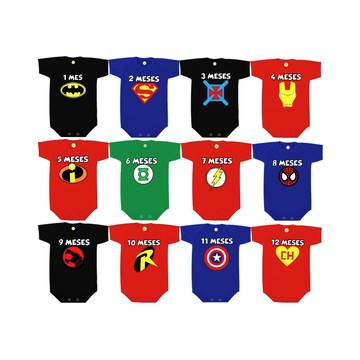 Kit Mesversario Super Heróis Símbolos ALGODÃO Body