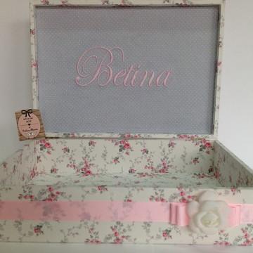 Caixa Maternidade Menina cinza e rosa