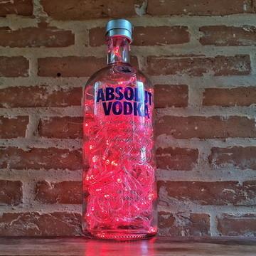 Luminária de garrafa de Vodka - LED Vermelho