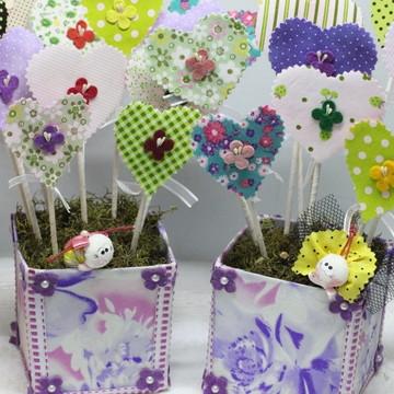 Vaso decorativo com abóboras de tecido