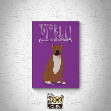 Pitbull - Quadro em mdf de cachorro
