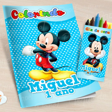 Kit colorir com giz de cera Mickey