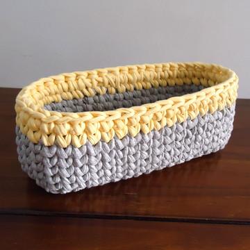 Mini Cesto p/ Kit Higiene Cinza e Amarelo