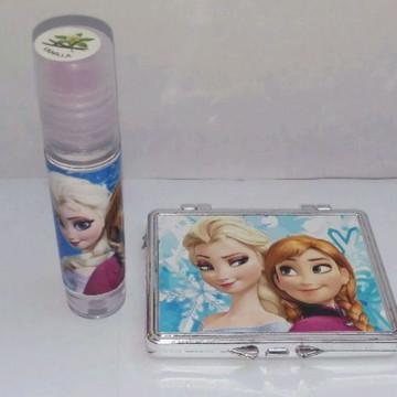 Kit/Brilho Labil e Espelho de Bolsa Personalizado Tema Froze