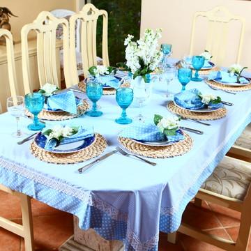 Toalha de mesa retangular com 8 guardanapos