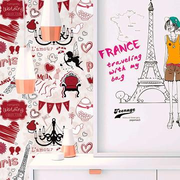 Papel de Parede Casual Paris em rosa 62