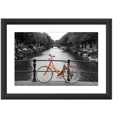 Quadro Amsterdam Bicicleta Laranja Rio Cidade Preto Branco