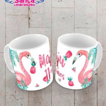Caneca de Plástico Festa de Flamingo
