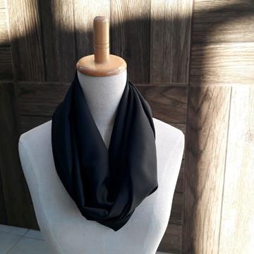 Gola lenço infinito crepe preto - Eternamente jovem