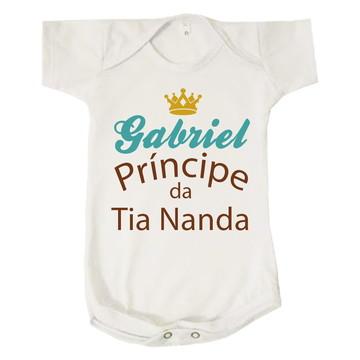 Body Bebê Gabriel Príncipe Titia Infantil Personalizado