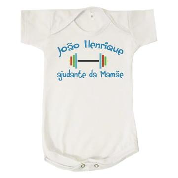 Body Bebê Ajudante da Mamãe Academia Personalizado João