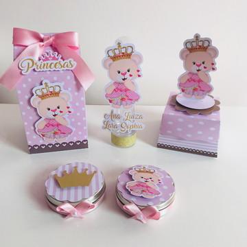 kit Personalizado Ursinha Princesa Luxo 40 Itens